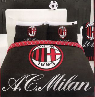 Milan AC Football Club Black Red White Queen Quilt DOONA Cover Set