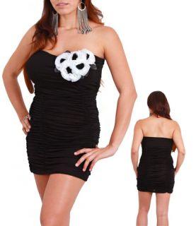 Womans Plus Size Black Strapless Dress Long Top Floral Accent 1XL 14