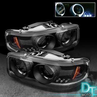 99 06 GMC Sierra 00 06 Yukon Dual Halo Projector LED Headlights Head