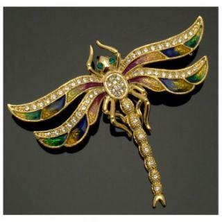 Acosta Jewellery Multi Enamel & Crystal Gold Tone Dragonfly Brooch