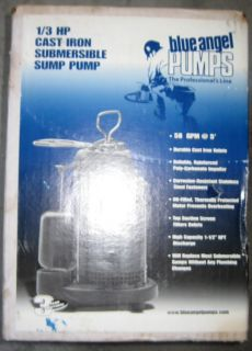Blue Angel 1 3 HP submersible Sump Pump Cast Iron New In Box BCS33