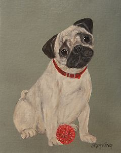 Pug Red Ball Original Acrylic Dog Paining Canvas Panel
