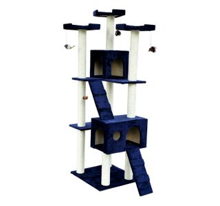 New 71 Cat Tree Condo Furniture Scratch Post Pet House Blue w Free