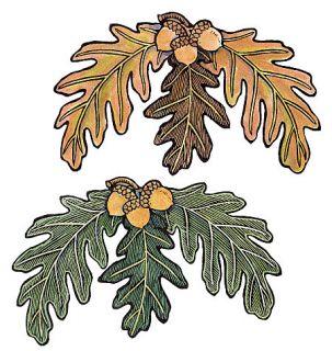 Oak Leaves Green Brown 25 Acorn Leaf Wallies Stickers Decal Fall
