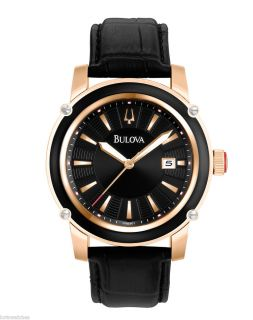New Bulova 98B161 Mens Rose Gold Tone Stainless Steel Watch with