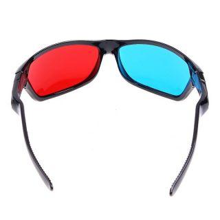 3D Glasses Red Blue Dimensional Anaglyphic Black Plastic Frame DVD