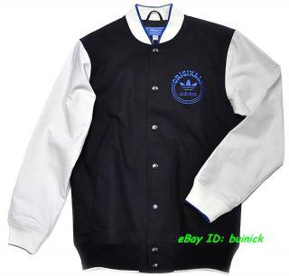 Adidas Sporty Varsity Jacket Black White Stadium College Bomber