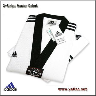 Adidas Taekwondo 3 Stripe Master DOBOK Karatedo Martial Arts Uniform