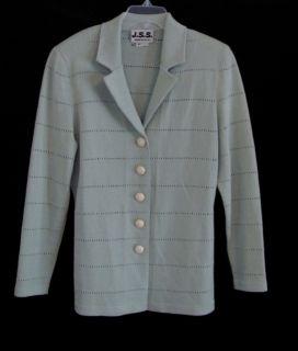 Vtg Santana Knit Silver Sage Elastic Skirt Long Jacket Suit USA Made