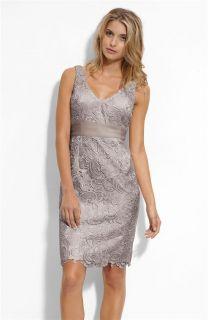 Adrianna Papell V Neck Lace Sheath Dress Sz 12