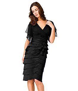 New Adrianna Papell Flutter Sleeve Tiered Dress 6 Blck