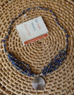 African Jewelry Beads Silver Copper Coil Wire Necklace