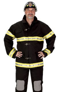 Mens Deluxe Fireman Fire Fighter Black Uniform Costume