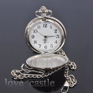 New Silver Classical Analog Quartz Mens Pocket Battery Watch with