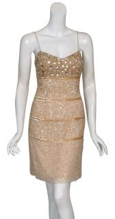 Aidan Mattox Shimmering Gold Rhinestone Eve Dress 0 New