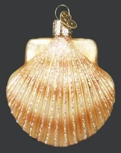 New Merck Family Old World Christmas Seashell Clam Shell Ornament