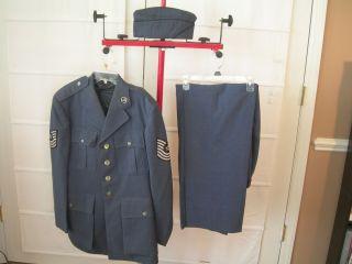 Vtg US Air Force Blue Uniform Coat Pants Garrison Hat Web Belt Vietnam