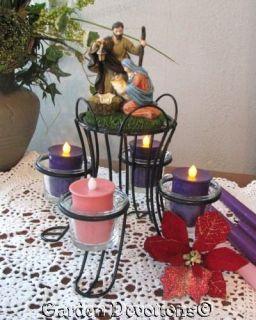 Iron Holy Family Advent Wreath Christmas Nativity Candelabra Glass