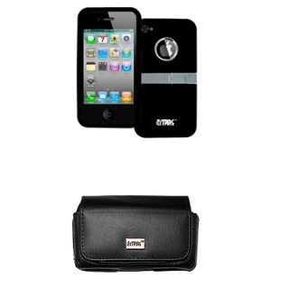 Black Stand Hard Case Cover Leather Side Pouch for Apple iPhone 4 4S