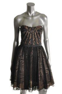 Aidan Mattox Black Lace Padded Bust Pattern Cocktail Evening Dress 8