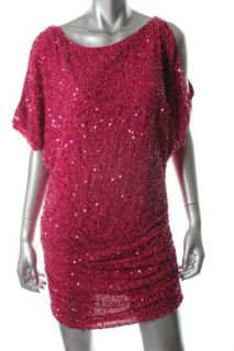 Aidan Mattox NEW Pink Sequined Dolman Cold Shoulder Cocktail Dress 12