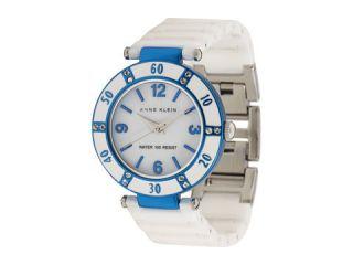 AK Anne Klein Women Stainless Steel White Blue Ceramic Watch #10
