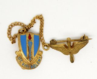 Ut Viri Volent AAF WWII US Army Air Force Pin & Wings LQQK