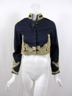 Gryphon Womens Navy Blue Embroidered Jacket s $580 New