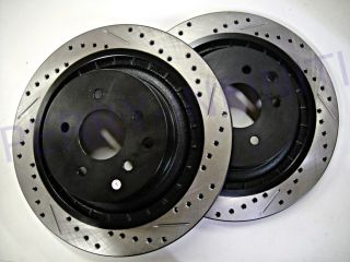 Drilled Rear Rotors for Infiniti Nissan Akebono Brakes New