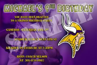 Football Team Minnesota Vikings Custom Birthday Party Invitations