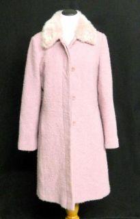 AK Anne Klein 6 Faux Fur Collar Wool Dusty Pink Jacket Boucle Lined