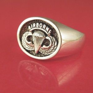Jump Wings Airborne Ring Solid Sterling Silver Size 8 to 12