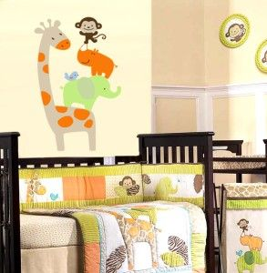 Stacked Giraffe Elephant Monkey Bird Vinyl Wall Decal