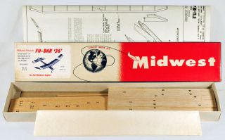 Vintage Midwest FU BAR 36 Free Flight Wood Model Airplane Kit!