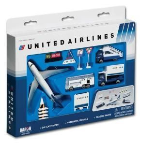 Real Toys United Airlines 12 Piece Airplane Model Playset Toy
