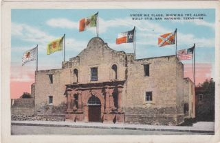 San Antonio TX Alamo with Six Flags 1930 Postcard Texas