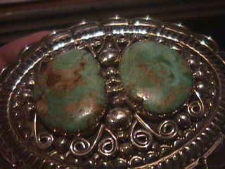 American Navajo turquoise sterling silver belt buckle Albert Cleveland