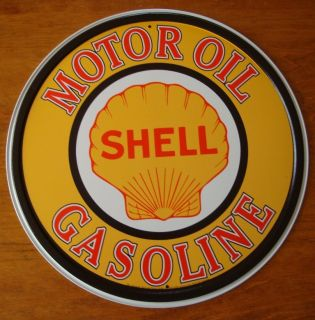 LARGE SHELL MOTOR OIL & GASOLINE SIGN Car Gas Station Pump Automobile