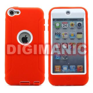 Orange Full Body Dual Hard Case Cover for Apple iPod Touch 5 5th