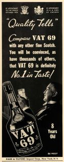 1940 Ad VAT 69 Alcohol Tilford Beverage Drink Scotch Original