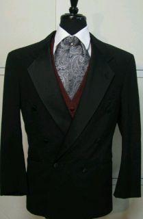 ALEXANDRE OF ENGLAND Mens Black Double Breasted Tuxedo Jacket Size 40