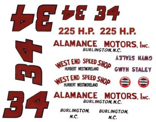 34 Gwyn Staley Alamance Motors 1 64th HO Waterslide Decals Slot Car