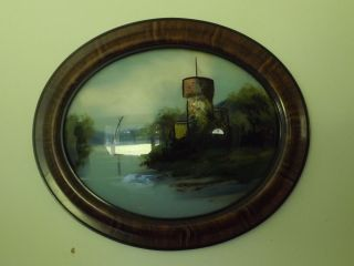 Antique Framed Oblong Reverse Painted Picture W Convex Glass Ship