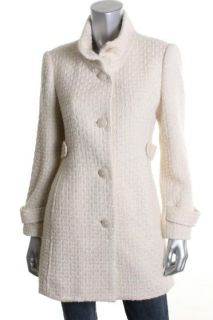 Alfani New Ivory Textured Long Sleeve Button Front Lined Long Coat 2