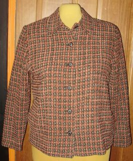 Womens Plus Size Blazer 16 1X ALFRED DUNNER Plaid