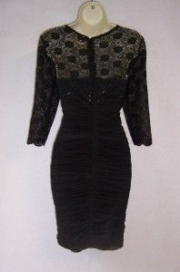 Alex Evenings Black Lace Lined 3 4 Sleeve Cocktail Evening Dress 12