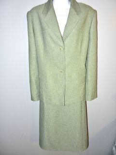 ALFRED DUNNER WOMENS LADIES GREEN CLASSIC ALL SEASON CAREER SKIRT SUIT