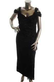 Alex Evenings New Black Full Length Adjustable Sleeve Formal Dress