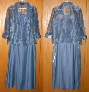 ALEX EVENINGS Blue Shimmery dress with Jacket Mother of the Bride or