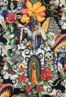 Alexander Henry Fabric Yard Contigo Mexican Aztec Sugar Skulls Day of